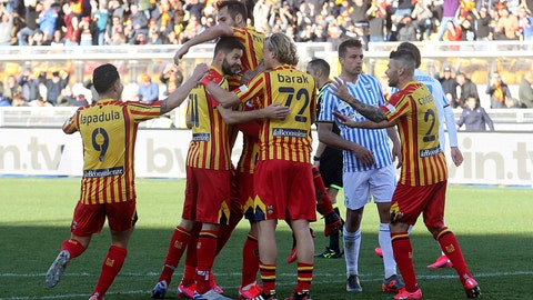<p>               Lecce's Marco Mancosu celebrates with teammates after scoring during the Serie A soccer match between Lecce and Spal, at the Via del Mare Stadium in Lecce, Italy, Saturday, Feb. 15, 2020. (Donato Fasano/Lapresse via AP)             </p>