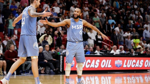 <p>               Minnesota Timberwolves guard Jordan McLaughlin (6) and forward Juancho Hernangomez (41) celebrate in the final seconds of the second half of an NBA basketball game against the Miami Heat, Wednesday, Feb. 26, 2020, in Miami. (AP Photo/Wilfredo Lee)             </p>