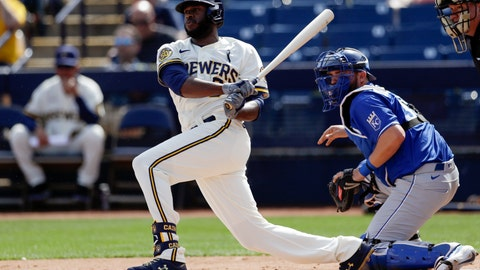 <p>               Milwaukee Brewers' Lorenzo Cain grounds out while batting during the first inning of a spring training baseball game against the Kansas City Royals, Thursday, Feb. 27, 2020, in Phoenix. (AP Photo/Gregory Bull)             </p>