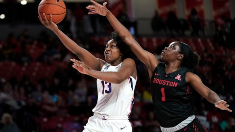 <p>               Connecticut's Christyn Williams (13) goes up for a shot as Houston's Bria Patterson (1) defends during the second half of an NCAA college basketball game Saturday, Feb. 29, 2020, in Houston. Connecticut won 92-40. (AP Photo/David J. Phillip)             </p>