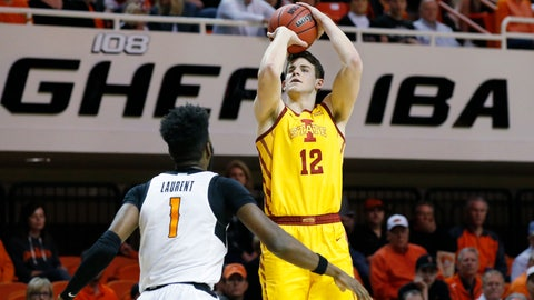<p>               Iowa State forward Michael Jacobson (12) shoots over Oklahoma State guard Jonathan Laurent (1) in the second half of an NCAA college basketball game in Stillwater, Okla., Saturday, Feb. 29, 2020. (AP Photo/Sue Ogrocki)             </p>