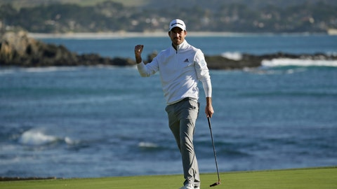 <p>               Nick Taylor, of Canada, reacts on the 18th green of the Pebble Beach Golf Links after winning the AT&T Pebble Beach National Pro-Am golf tournament Sunday, Feb. 9, 2020, in Pebble Beach, Calif. (AP Photo/Eric Risberg)             </p>