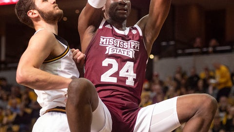 <p>               Mississippi State's Abdul Ado, right, dunks the ball past Missouri's Reed Nikko, left, during the first half of an NCAA college basketball game Saturday, Feb. 29, 2020, in Columbia, Mo. (AP Photo/L.G. Patterson)             </p>
