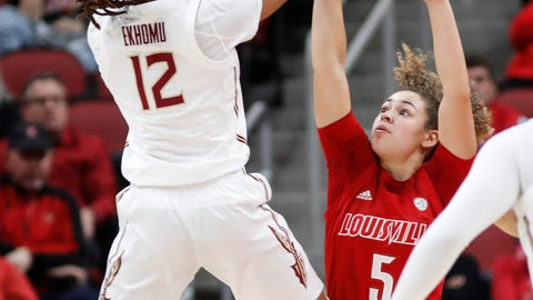 <p>               Florida State guard Nicki Ekhomu (12) shoots over Louisville guard Mykasa Robinson (5) during the first half of an NCAA college basketball game Thursday, Feb. 6, 2020, in Louisville, Ky. (AP Photo/Wade Payne)             </p>