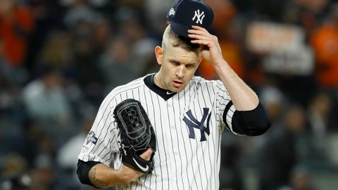 <p>               FILE - In this Oct. 18, 2019, file photo, New York Yankees starting pitcher James Paxton reacts after walking Houston Astros' Michael Brantley during the first inning in Game 5 of baseball's American League Championship Series in New York. Paxton has had back surgery and is expected to be sidelined until May or June. (AP Photo/Matt Slocum, File)             </p>
