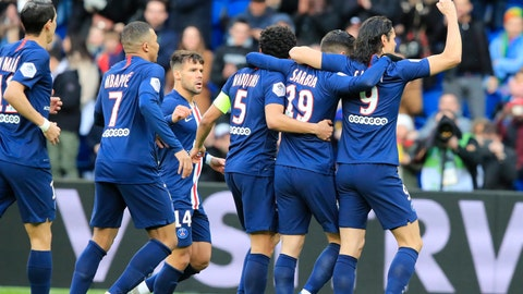 <p>               PSG's Pablo Sarabia, second right, celebrates with teammates after scoring his side's opening goal during the French League One soccer match between Paris-Saint-Germain and Dijon, at the Parc des Princes stadium in Paris, France, Saturday, Feb. 29, 2020. (AP Photo/Michel Euler)             </p>