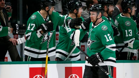 <p>               Dallas Stars center Radek Faksa (12) celebrates his goal against the Arizona Coyotes with right wing Alexander Radulov (47) during the second period of an NHL hockey game in Dallas, Wednesday, Feb. 19, 2019. (AP Photo/Michael Ainsworth)             </p>