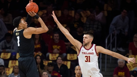 <p>               Colorado guard Tyler Bey, left, shoots over Southern California forward Nick Rakocevic during the first half of an NCAA college basketball game Saturday, Feb. 1, 2020 in Los Angeles. (AP Photo/Kyusung Gong)             </p>