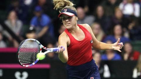 <p>               United States' Sofia Kenin hits a forehand to Latvia's Anastasija Sevastova during a Fed Cup qualifying tennis match Friday, Feb. 7, 2020, in Everett, Wash. (AP Photo/Elaine Thompson)             </p>