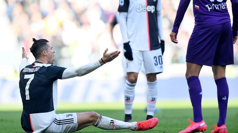 <p>               Juventus' Cristiano Ronaldo sits on the ground as he argues during a Serie A soccer match between Juventus and Fiorentina, in Turin, Italy, Sunday, Feb. 2, 2020. (Fabio Ferrari/LaPresse via AP)             </p>