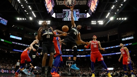 <p>               Milwaukee Bucks' Giannis Antetokounmpo reacts as he dunks during the second half of an NBA basketball game against the Philadelphia 76ers Thursday, Feb. 6, 2020, in Milwaukee. The Bucks won 112-101. (AP Photo/Morry Gash)             </p>