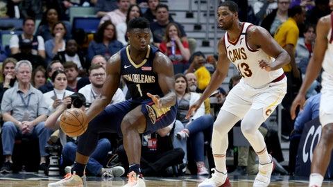 <p>               New Orleans Pelicans forward Zion Williamson (1) drives as Cleveland Cavaliers center Tristan Thompson (13) defends during the first half of an NBA basketball game in New Orleans, Friday, Feb. 28, 2020. (AP Photo/Rusty Costanza)             </p>