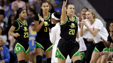 <p>               Oregon guard Sabrina Ionescu (20) signals after a call in the team's favor during the first half of an NCAA college basketball game against UCLA on Friday, Feb. 14, 2020, in Los Angeles. (AP Photo/Marcio Jose Sanchez)             </p>