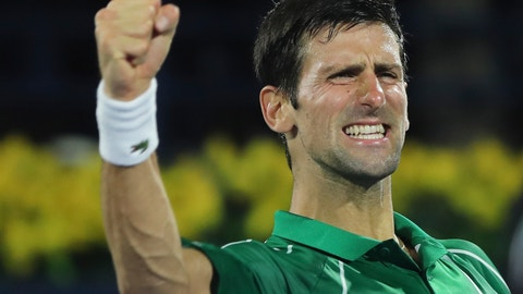 <p>               Serbia's Novak Djokovic celebrates after he beats Stefanos Tsitsipas of Greece in the final match of the Dubai Duty Free Tennis Championship in Dubai, United Arab Emirates, Saturday, Feb. 29, 2020. (AP Photo/Kamran Jebreili)             </p>