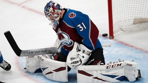 <p>               Colorado Avalanche goaltender Philipp Grubauer misses the puck as it flies past the net in the first period of an NHL hockey game against the Ottawa Senators Tuesday, Feb. 11, 2020, in Denver. (AP Photo/David Zalubowski)             </p>