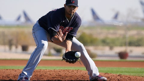 <p>               FILE - In this Feb. 13, 2020, file photo, Cleveland Indians starting pitcher Carlos Carrasco fields a grounder during spring training baseball workouts for pitchers and catchers in Avondale, Ariz. Carlos Carrasco felt discomfort in his right leg during a spring training workout and is undergoing imaging tests. The Indians said he will not work out Thursday, Feb. 20, 2020, and the team plans to provide an update on his status and a diagnosis Friday. (AP Photo/Ross D. Franklin, File)             </p>