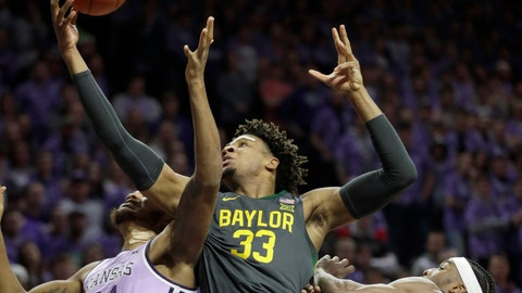 <p>               Baylor forward Freddie Gillespie (33) rebounds again Kansas State forwards Joe Petrakis (35) and Xavier Sneed, right, during the first half of an NCAA college basketball game in Manhattan, Kan., Monday, Feb. 3, 2020. (AP Photo/Orlin Wagner)             </p>