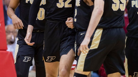 <p>               Purdue center Matt Haarms (32) reacts with his teammates after drawing a charging foul against Indiana during the second half of an NCAA college basketball game, Saturday, Feb. 8, 2020, in Bloomington, Ind. Purdue won 74-62. (AP Photo/Doug McSchooler)             </p>