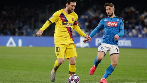 <p>               Barcelona's Lionel Messi, left, and Napoli's Dries Mertens challenge for the ball during the Champions League, Round of 16, first-leg soccer match between Napoli and Barcelona, at the San Paolo Stadium in Naples, Italy, Tuesday, Feb. 25, 2020. (AP Photo/Andrew Medichini)             </p>