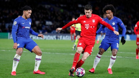 <p>               Bayern's Robert Lewandowski controls the ball during the Champions League round of 16 soccer match between Chelsea and Bayern Munich at Stamford Bridge in London, England, Tuesday, Feb. 25, 2020. Bayern won 3-0. (AP Photo/Frank Augstein)             </p>