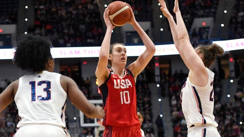 <p>               United States' Breanna Stewart, center, shoots between Connecticut's Christyn Williams, left, and Connecticut's Anna Makurat, right, in the second half of an exhibition basketball game, Monday, Jan. 27, 2020, in Hartford, Conn. (AP Photo/Jessica Hill)             </p>