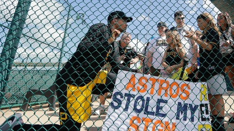 <p>               Pittsburgh Pirates' Chris Archer, left, talks to fans Harley Fagan, 6, center, and her brother Landon, 9, after a spring training baseball workout Monday, Feb. 17, 2020, in Bradenton, Fla. (AP Photo/Frank Franklin II)             </p>