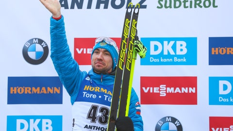 <p>               Russia's Alexander Loginov celebrates on the podium after winning the men's 10km sprint competition at the Biathlon World Championships in Antholz, Italy, Saturday, Feb. 15, 2020. (AP Photo/Matthias Schrader)             </p>