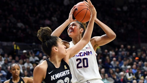 <p>               Connecticut's Olivia Nelson-Ododa (20) shoots over Central Florida's Brittney Smith (32) during the first half of an NCAA college basketball game Saturday, Feb. 22, 2020, in Storrs, Conn. (AP Photo/Stephen Dunn)             </p>