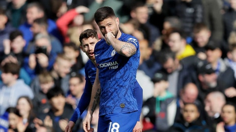 <p>               Chelsea's Olivier Giroud celebrates after scoring a goal against Tottenham Hotspur's Jan Vertonghen during the English Premier League soccer match between Chelsea and Tottenham Hotspur in London, England, Saturday, Feb. 22, 2020. (AP Photo/Kirsty Wigglesworth)             </p>