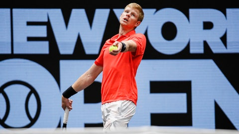 <p>               Kyle Edmund, of Britain, serves to Miomir Kecmanovic, of Serbia, during his semifinal match at the New York Open tennis tournament, Saturday, Feb. 15, 2020, in Uniondale, NY. (AP Photo/John Minchillo)             </p>
