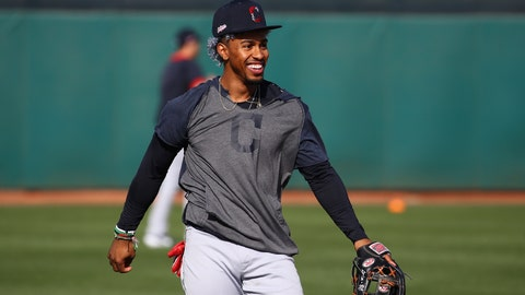 <p>               Cleveland Indians shortstop Francisco Lindor smiles as he works on infield drills during spring training baseball workouts Friday, Feb. 21, 2020, in Goodyear, Ariz. (AP Photo/Ross D. Franklin)             </p>