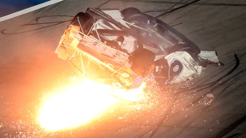 <p>               Ryan Newman slides down the track after he was involved in a crash on the final lap of the NASCAR Daytona 500 auto race at Daytona International Speedway, Monday, Feb. 17, 2020, in Daytona Beach, Fla. Sunday's race was postponed because of rain. (AP Photo/David Graham)             </p>