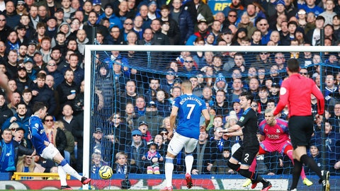 <p>               Everton's Bernard, left, scores his side's first goal of the game during the English Premier League soccer match between Everton and Crystal Palace at Goodison Park, in Liverpool, England,  Saturday, Feb. 8, 2020. (Martin Rickett/PA via AP)             </p>