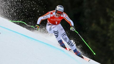 <p>               Germany's Thomas Dressen speeds down the course during an alpine ski, men's World Cup downhill, in Garmisch-Partenkirchen, Germany, Saturday, Feb.1, 2020. (AP Photo/Marco Trovati)             </p>