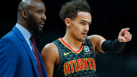 <p>               Atlanta Hawks guard Trae Young (11) reacts with head coach Lloyd Pierce in the first half of an NBA basketball game against the New York Knicks on Sunday, Feb. 9, 2020, in Atlanta. (AP Photo/Todd Kirkland)             </p>