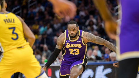 <p>               Los Angeles Lakers forward LeBron James (23) dribbles against the Golden State Warriors in the first half of an NBA basketball game in San Francisco Saturday, Feb. 8, 2020. (AP Photo/John Hefti)             </p>