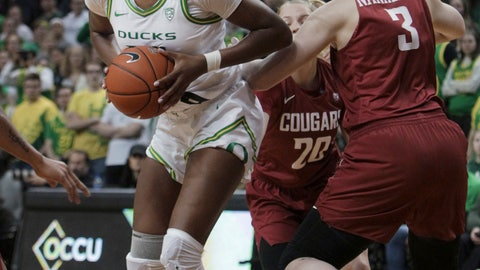 <p>               Oregon's Ruthy Hebard, left, moves around Washington State's Emma Nankervis, right, during the first half of an NCAA college basketball game in Eugene, Ore., Friday, Feb. 28, 2020. (AP Photo/Collin Andrew)             </p>