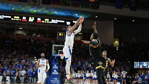<p>               Tulsa guard Elijah Joiner (3) hits the game winning three pointer against Wichita State in the second half of Tulsa's 54-51 win over Wichita State in an NCAA college basketball game in Tulsa, Okla., Saturday, Feb. 1, 2020. (AP Photo/Joey Johnson)             </p>