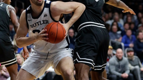<p>               Butler forward Bryce Golden (33) goes around Providence forward Kalif Young (13) in the first half of an NCAA college basketball game in Indianapolis, Saturday, Feb. 1, 2020. (AP Photo/Michael Conroy)             </p>