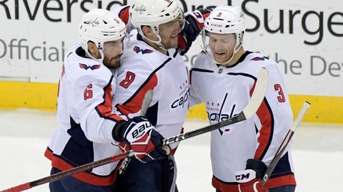 <p>               Washington Capitals left wing Alex Ovechkin (8) celebrates his 700th career goal with defenseman Michal Kempny (6) and defenseman Nick Jensen (3) during the third period of an NHL hockey game against the New Jersey Devils Saturday, Feb. 22, 2020, in Newark, N.J. (AP Photo/Bill Kostroun)             </p>