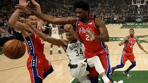 <p>               Milwaukee Bucks' Giannis Antetokounmpo is fouled as he drives between Philadelphia 76ers' Ben Simmons and Joel Embiid (21) during the first half of an NBA basketball game Saturday, Feb. 22, 2020, in Milwaukee. (AP Photo/Morry Gash)             </p>