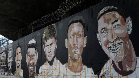 <p>               A mural features the faces of the young soccer players who died one year ago in a fire at the Flamengo club training center in Rio de Janeiro, Brazil, Friday, Feb. 7, 2020. The fire killed 10 academy players and injured three others, all aged between 14 and 16 years-old at the time. (AP Photo/Silvia Izquierdo)             </p>