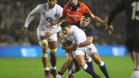 <p>               England's Ben Youngs, front, is tackled by Scotland's Stuart McInally during the Six Nations rugby union international match between Scotland and England at Murrayfield Stadium, in Edinburgh, Scotland, Saturday, Feb. 8, 2020. (AP Photo/Scott Heppell)             </p>