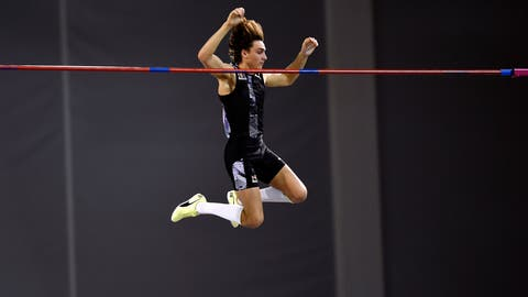<p>               Sweden's Armand Duplantis breaks the world record height in the Pole Vault, during the Glasgow Indoor Grand Prix at the Emirates Arena, in Glasgow, Scotland, Saturday, Feb. 15, 2020. (Ian Rutherford/PA via AP)             </p>