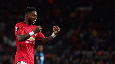<p>               Manchester United's Fred celebrates after scoring his side's fifth goal during the round of 32 second leg Europa League soccer match between Manchester United and Brugge at Old Trafford in Manchester, England, Thursday, Feb. 27, 2020. (AP Photo/Dave Thompson)             </p>
