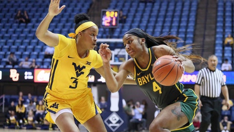 <p>               Baylor guard Te'a Cooper (4) goes upcourt while defended by West Virginia guard Kirsten Deans (3) during the first half of an NCAA college basketball game Monday, Feb. 24, 2020, in Morgantown, W.Va. (AP Photo/Kathleen Batten)             </p>