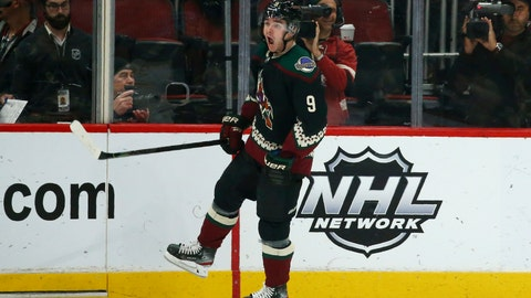 <p>               Arizona Coyotes right wing Clayton Keller shouts as he celebrates his goal against the Buffalo Sabres during the second period of an NHL hockey game Saturday, Feb. 29, 2020, in Glendale, Ariz. (AP Photo/Ross D. Franklin)             </p>