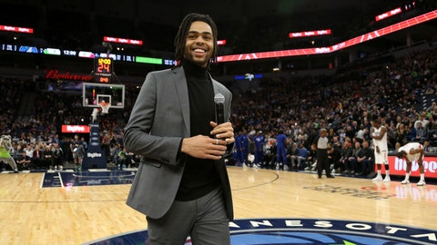 <p>               Minnesota Timberwolves' D'Angelo Russell smiles after addressing team fans prior to an NBA basketball game against the Los Angeles Clippers, Saturday, Feb. 8, 2020, in Minneapolis. (AP Photo/Stacy Bengs)             </p>