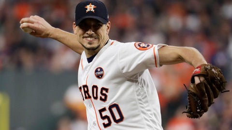<p>               FILE - In this Oct. 28, 2017, file photo, Houston Astros starting pitcher Charlie Morton throws against the Los Angeles Dodgers during the second inning of Game 4 of baseball's World Series in Houston. Two-time All-Star pitcher Morton says he regrets not doing anything to try to stop the Astros from illegally stealing signs and relaying information to their hitters during the team's 2017 World Series championship season. Morton currently is the ace of the Tampa Bay Rays. (AP Photo/Matt Slocum, File)             </p>