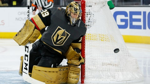 <p>               Vegas Golden Knights goaltender Marc-Andre Fleury (29) blocks a shot by the Edmonton Oilers during the third period of an NHL hockey game Wednesday, Feb. 26, 2020, in Las Vegas. (AP Photo/John Locher)             </p>